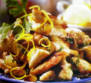 Antipasto di pollo, aglio e limone