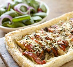 Torta salata pollo olive e peperoni