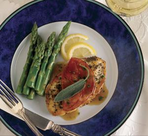 Saltimbocca leggeri pollo e asparagi
