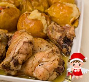 Pollo di Natale al forno con le mele